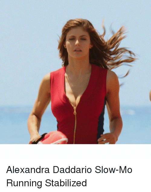 Running, Alexandra Daddario, and Slow: Alexandra Daddario Slow-Mo Running Stabilized