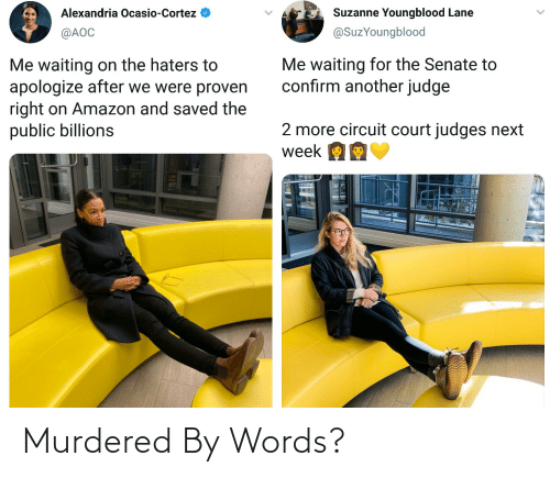Amazon, Waiting..., and Another: Alexandria Ocasio-Cortez  Suzanne Youngblood Lane  @SuzYoungblood  @AOC  Me waiting for the Senate to  confirm another judge  Me waiting on the haters to  apologize after we were proven  right on Amazon and saved the  public billions  2 more circuit court judges next  week OE Murdered By Words?