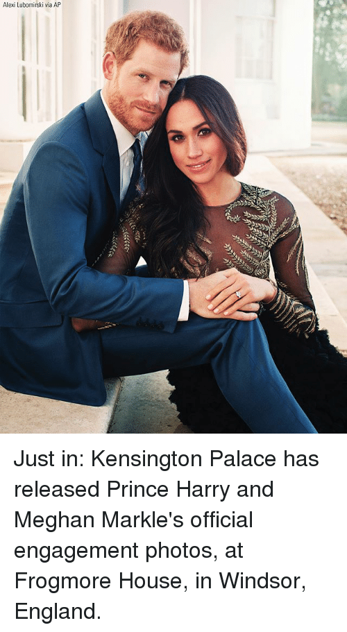 Windsor: Alexi Lubomirski via AP Just in: Kensington Palace has released Prince Harry and Meghan Markle's official engagement photos, at Frogmore House, in Windsor, England.