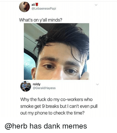 danke: ali  @LebaenesePapi  What's on y'all minds?  roldy  @GeraldHayess  Why the fuck do my co-workers who  smoke get 9 breaks but I can't even pull  out my phone to check the time? @herb has dank memes