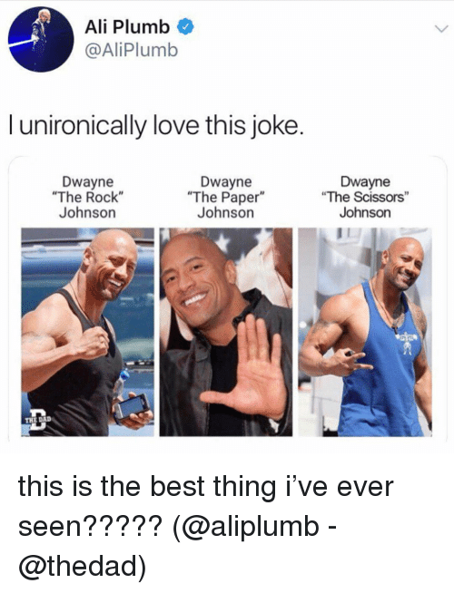 "Ali, Love, and Memes: Ali Plumb  @AliPlumb  l unironically love this joke.  Dwayne  ""The Rock""  Johnson  Dwayne  ""The Paper""  Johnson  Dwayne  ""The Scissors""  Johnson  THE DAID this is the best thing i've ever seen????? (@aliplumb - @thedad)"