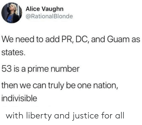 alice: Alice Vaughn  @RationalBlonde  We need to add PR, DC, and Guam as  states.  53 is a prime number  then we can truly be one nation,  indivisible with liberty and justice for all