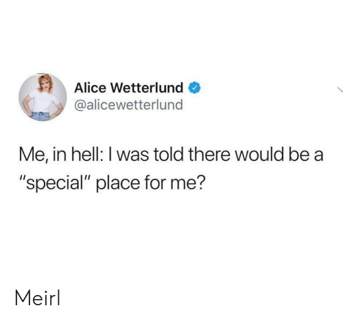 "alice: Alice Wetterlund  @alicewetterlund  Me, in hell: I was told there would be a  ""special"" place for me? Meirl"