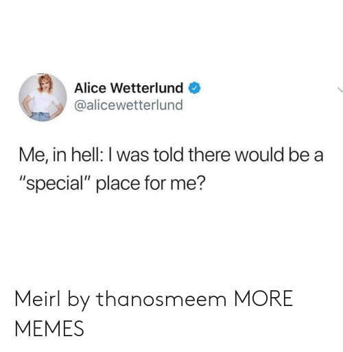 "alice: Alice Wetterlund  @alicewetterlund  Me, in hell: I was told there would be a  ""special"" place for me? Meirl by thanosmeem MORE MEMES"