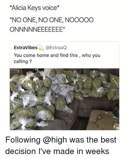 "Alicia Keys: Alicia Keys voice*  ""NO ONE, NO ONE, NOOOOO  ExtraVibes@ExtraaQ  You come home and find this , who you  calling? Following @high was the best decision I've made in weeks"