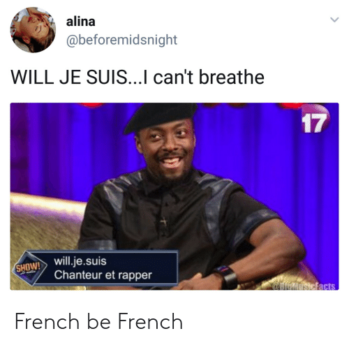 Suis: alina  @beforemidsnight  WILL JE SUIS...Il can't breathe  17  SHOW! will.je.suis  Chanteur et rapper French be French