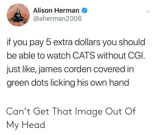 Be Able: Alison Herman  MED  @aherman2006  if you pay 5 extra dollars you should  be able to watch CATS without CGI.  just like, james corden covered in  green dots licking his own hand Can't Get That Image Out Of My Head