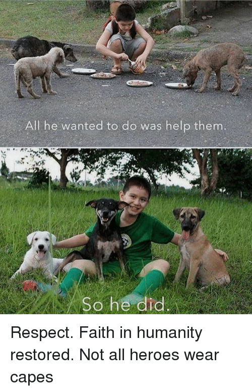 faith in humanity restored: All he wanted to do was help them  So he dic Respect. Faith in humanity restored. Not all heroes wear capes