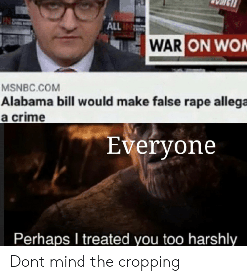 Rape: ALL IN  WAR ON WON  MSNBC.COM  Alabama bill wou ld make false rape allega  a crime  Everyone  Perhaps I treated you too harshly Dont mind the cropping
