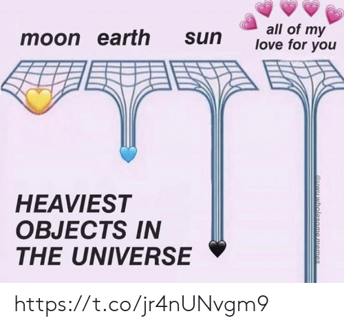 Objects: all of my  love for you  moon earth  sun  HEAVIEST  OBJECTS IN  THE UNIVERSE  QYwholesome memes https://t.co/jr4nUNvgm9