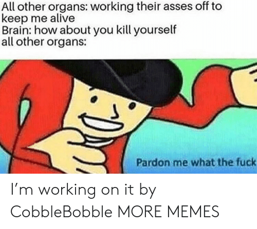 pardon me: All other organs: working their asses off to  keep me alive  Brain: how about you kill yourself  all other organs:  Pardon me what the fuck I'm working on it by CobbleBobble MORE MEMES