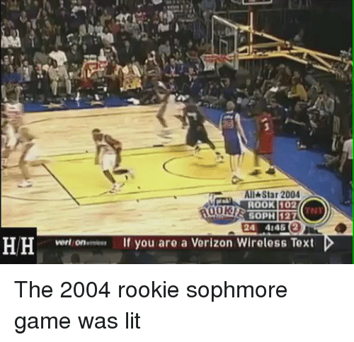 Sophmoric: All Star 2004  ROOK l102  SOPH 127  24 46  HH vert on If you are a Verizon Wireless Text The 2004 rookie sophmore game was lit