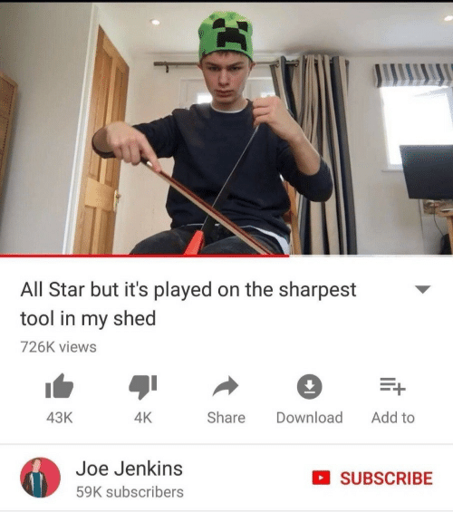 All Star, Star, and Tool: All Star but it's played on the sharpest  tool in my shed  726K views  Share Download Add to  43K  4K  Joe Jenkins  59K subscribers  SUBSCRIBE