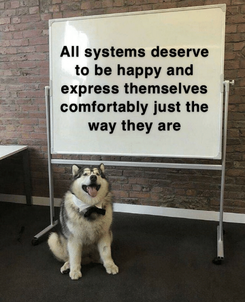 systems: All systems deserve  to be happy and  express them seIves  comfortably just the  way they are