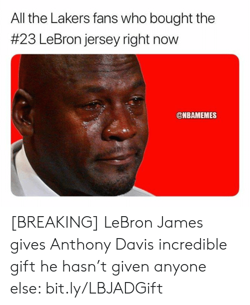 davis: All the Lakers fans who bought the  #23 LeBron jersey right now  @NBAMEMES [BREAKING] LeBron James gives Anthony Davis incredible gift he hasn't given anyone else: bit.ly/LBJADGift