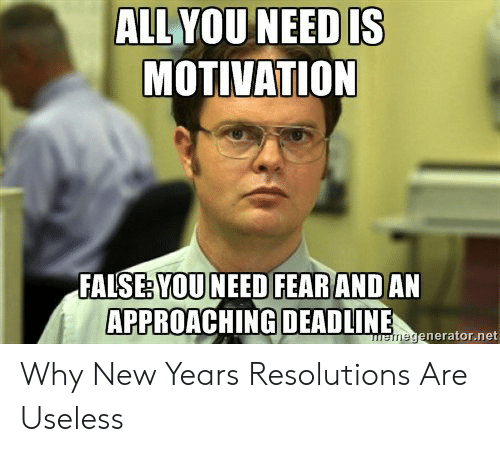 New Years Resolution Meme: ALL YOU NEED IS  MOTIVATION  YOU NEED FEARAND  APPROACHING DEADLINE  FALSE:  AN  enerator.net Why New Years Resolutions Are Useless