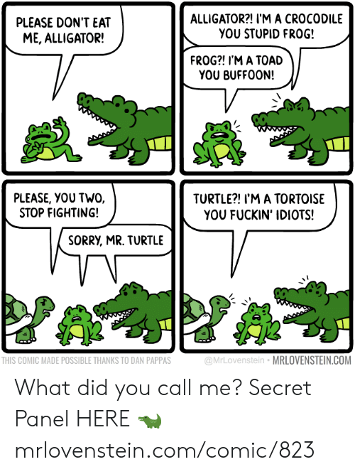 toad: ALLIGATOR?! I'M A CROCODILE  YOU STUPID FRO0G!  PLEASE DON'T EAT  ME, ALLIGATOR!  FROG?! I'M A TOAD  YOU BUFFOON!  PLEASE, YOU TWO,  STOP FIGHTING!  TURTLE?! I'M A TORTOISE  YOU FUCKIN' IDIOTS!  SORRY, MR. TURTLE  @MrLovenstein MRLOVENSTEIN.COM  THIS COMIC MADE POSSIBLE THANKS TO DAN PAPPAS What did you call me?  Secret Panel HERE 🐊 mrlovenstein.com/comic/823