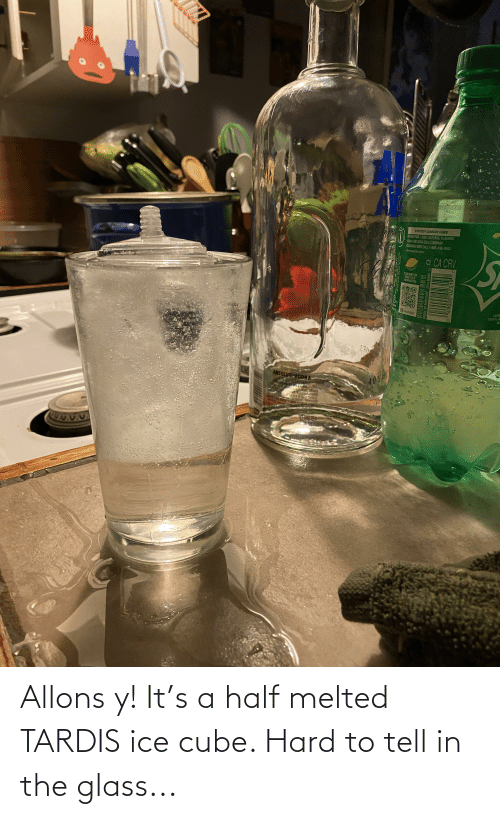 Ice Cube: Allons y! It's a half melted TARDIS ice cube. Hard to tell in the glass...