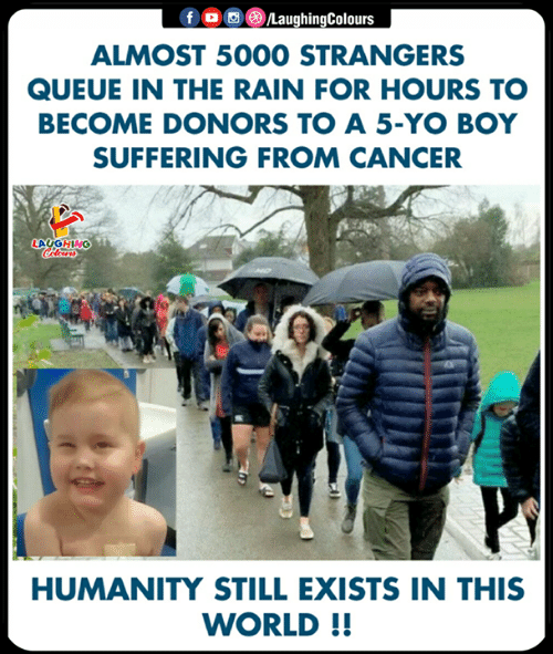 Yo, Cancer, and Rain: ALMOST 5000 STRANGERS  QUEUE IN THE RAIN FOR HOURS TO  BECOME DONORS TO A 5-YO BOY  SUFFERING FROM CANCER  HUMANITY STILL EXISTS IN THIS  WORLD!