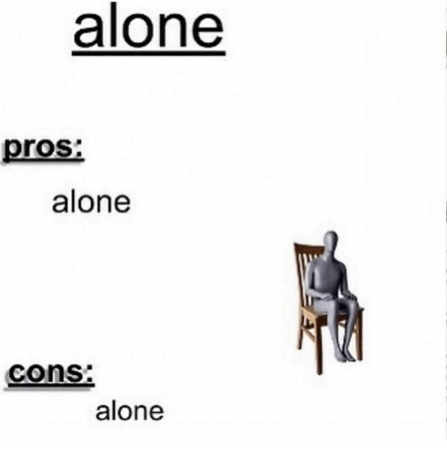 Being Alone, Cons, and Pros: alone  pros  alone  cons:  alone