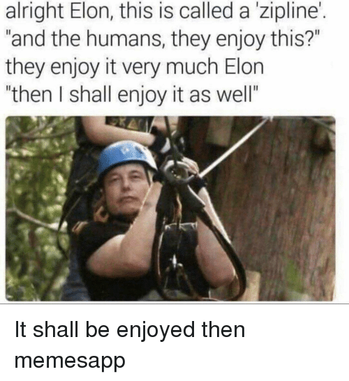 """Memes, Alright, and 🤖: alright Elon, this is called a'zipline'.  """"and the humans, they enjoy this?""""  they enjoy it very much Elon  """"then I shall enjoy it as well""""  I. It shall be enjoyed then memesapp"""