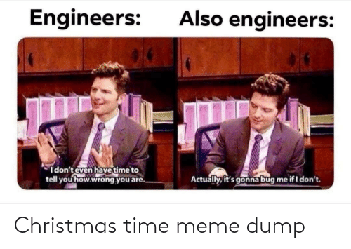 dump: Also engineers:  Engineers:  I don't even have time to  tell you how.wrong you are.  Actually, it's gonna bug  me if I don't. Christmas time meme dump