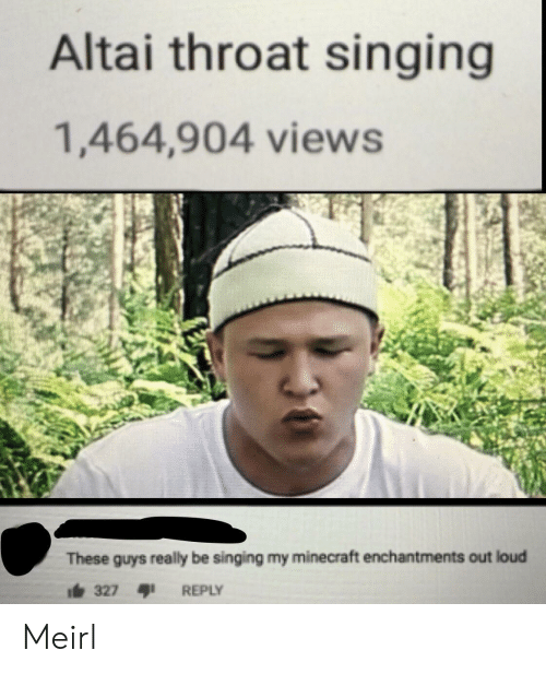 Minecraft, Singing, and MeIRL: Altai throat singing  1,464,904 views  These guys really be singing my minecraft enchantments out loud  i327  REPLY Meirl