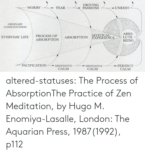 Process: altered-statuses:  The Process of AbsorptionThe Practice of Zen Meditation, by Hugo M. Enomiya-Lasalle, London: The Aquarian Press, 1987(1992), p112