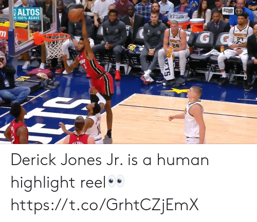 Memes, Highlight Reel, and 🤖: ALTOS  Altitude  8 100% AGAVE  CG G  m  G G  MUGGETS  UGIETS  24  MI  AR  TS Derick Jones Jr. is a human highlight reel👀 https://t.co/GrhtCZjEmX