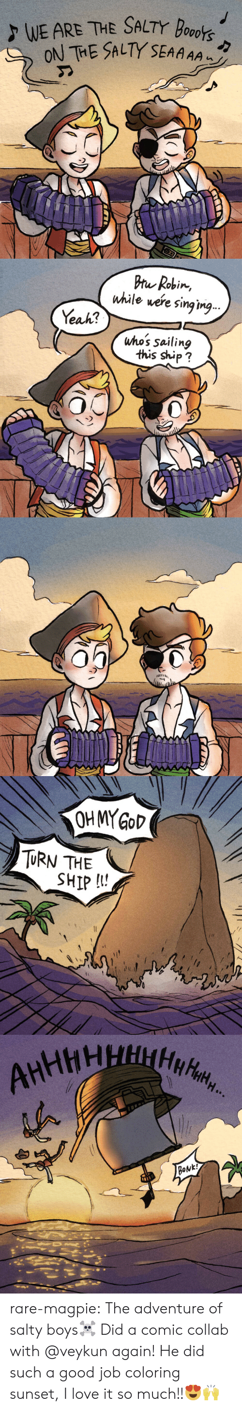 magpie: ALTY SEAAAA   Pru Robin,  while were sing ing  Yeak?  uho's sailing  this ship?  0   TURN THE  SHIP I! rare-magpie:  The adventure of salty boys☠️ Did a comic collab with  @veykun again! He did such a good job coloring sunset, I love it so much!!😍🙌