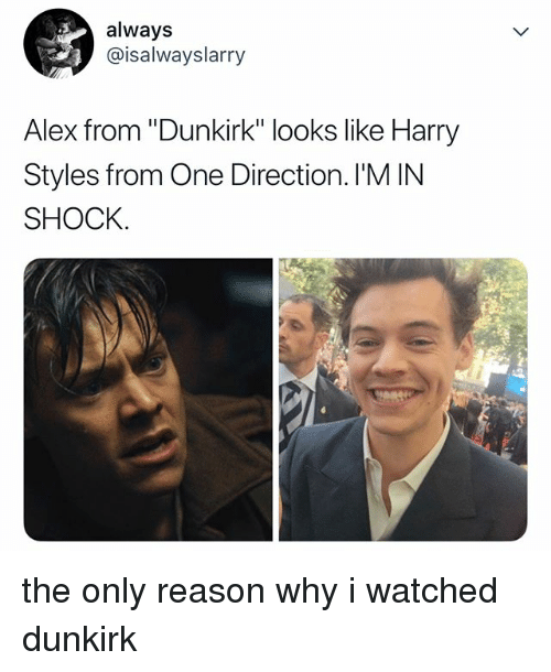 """Harry Styles: always  @isalwayslarry  Alex from """"Dunkirk"""" looks like Harry  Styles from One Direction. I'M IN  SHOCK. the only reason why i watched dunkirk"""
