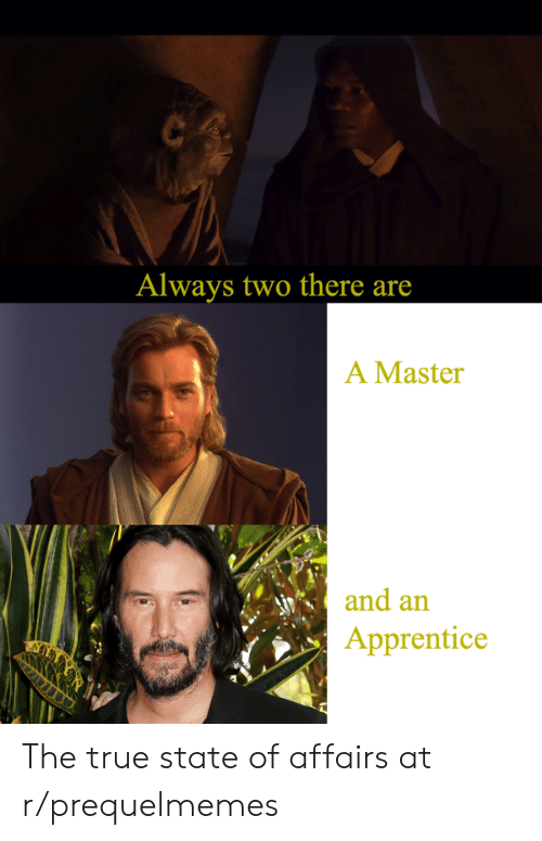 True, Apprentice, and Master: Always two there are  A Master  and an  Apprentice The true state of affairs at r/prequelmemes