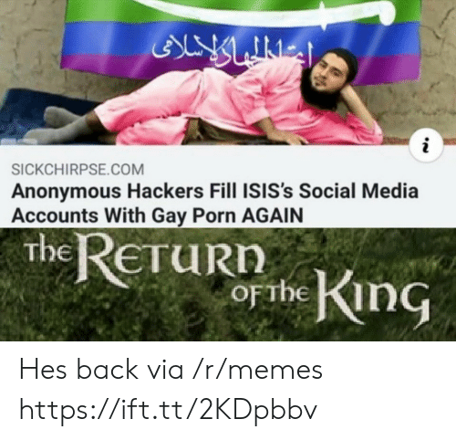 Memes, Social Media, and Anonymous: ALY LINES  i  SICKCHIRPSE.COM  Anonymous Hackers Fill ISIS's Social Media  Accounts With Gay Porn AGAIN  the ReTuRn  obe King  ETURN  OFTHE Hes back via /r/memes https://ift.tt/2KDpbbv