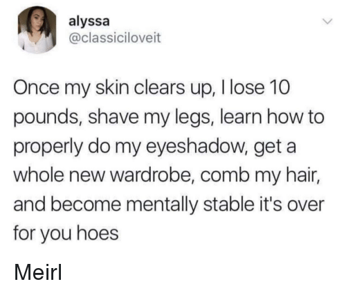 Hoes, Hair, and How To: alyssa  @classiciloveit  Once my skin clears up, Ilose 10  pounds, shave my legs, learn how to  properly do my eyeshadow, get a  whole new wardrobe, comb my hair,  and become mentally stable it's over  for you hoes Meirl