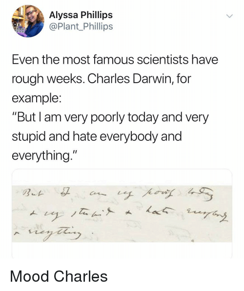 """darwin: Alyssa Phillips  @Plant Phillips  Even the most famous scientists have  rough weeks. Charles Darwin, for  example  """"But I am very poorly today and very  stupid and hate everybody and  everything."""" Mood Charles"""