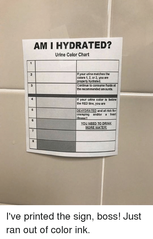At Risk: AM I HYDRATED?  Urine Color Chart  f your urine matches the  colors 1, 2, or 3, you are  2  ted.  Continue to consume fluids at  the recommended amounts  If your urine color is below  the RED line, you are  DEHYDRATED and at risk for  cramping andlor a heat  YOU NEED TO DRINK  MORE WATER I've printed the sign, boss! Just ran out of color ink.