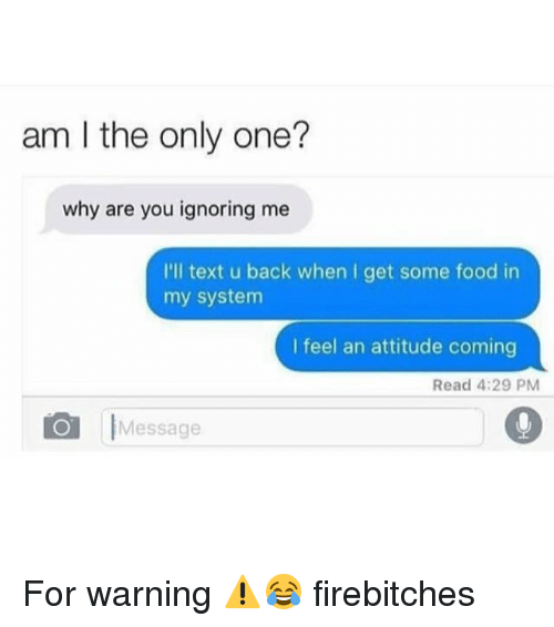 me illness: am I the only one?  why are you ignoring me  I'll text u back when I get some food in  my system  I feel an attitude coming  Read 4:29 PM  Message For warning ⚠️😂 firebitches