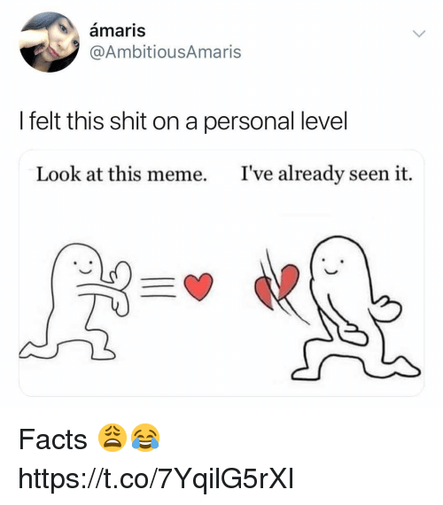 Facts, Meme, and Shit: amaris  @AmbitiousAmaris  I felt this shit on a personal level  Look at this meme.  I've already seen it. Facts 😩😂 https://t.co/7YqilG5rXI