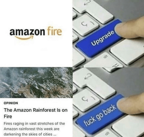 Amazon, Fire, and Fuck: amazon fire  Upgrade  OPINION  The Amazon Rainforest Is on  Fire  Fires raging in vast stretches of the  Amazon rainforest this week are  fuck go back  darkening the skies of cities