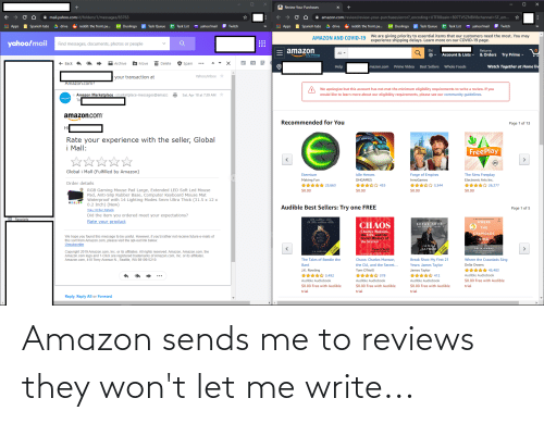 Reviews: Amazon sends me to reviews they won't let me write...