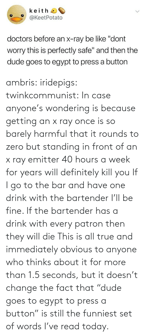 "In Case: ambris: iridepigs:  twinkcommunist: In case anyone's wondering is because getting an x ray once is so barely harmful that it rounds to zero  but standing in front of an x ray emitter 40 hours a week for years will definitely kill you  If I go to the bar and have one drink with the bartender I'll be fine. If the bartender has a drink with every patron then they will die   This is all true and immediately obvious to anyone who thinks about it for more than 1.5 seconds, but it doesn't change the fact that ""dude goes to egypt to press a button"" is still the funniest set of words I've read today."