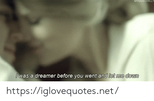 ame: AME SBILL  Iwas a dreamer before you went and let me down https://iglovequotes.net/