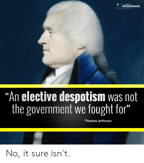 """despotism: Amenidment  TENTH  """"An elective despotism was not  the government we fought for""""  35  *Thomas Jefferson No, it sure isn't."""