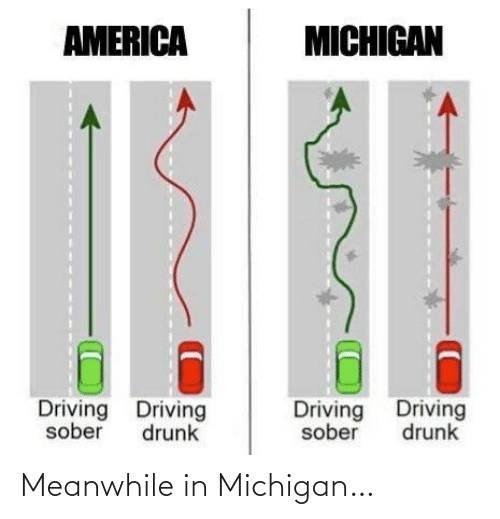 America: AMERICA  MICHIGAN  Driving Driving  Driving Driving  sober  drunk  sober  drunk Meanwhile in Michigan…