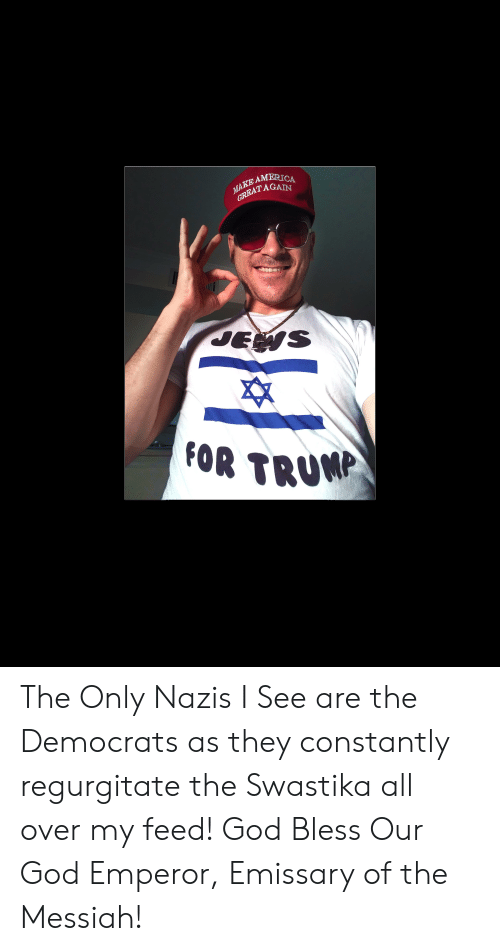 regurgitate: AMERICA  TAGAIN  Es  FOR TRUMA The Only Nazis I See are the Democrats as they constantly regurgitate the Swastika all over my feed! God Bless Our God Emperor, Emissary of the Messiah!