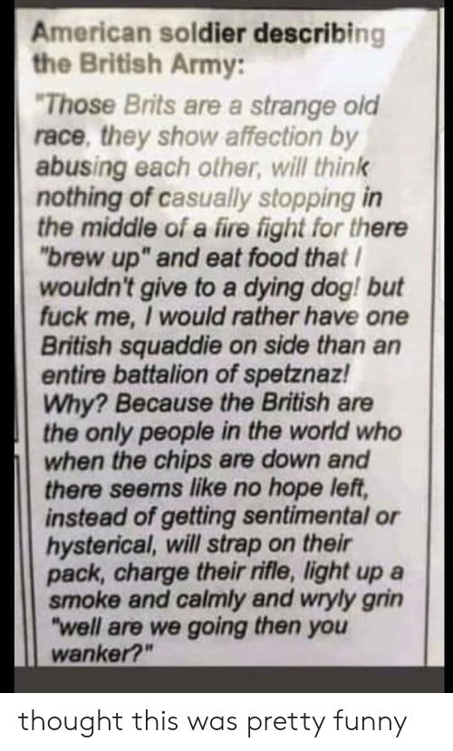 """Rifle: American soldier describing  the British Army:  Those Brits are a strange old  race, they show affection by  abusing each other, will think  nothing of casually stopping in  the middle of a fire fight for thene  """"brew up"""" and eat food that  wouldn't give to a dying dog! but  fuck me, I would rather have one  British squaddie on side than an  entire battalion of spetznaz!  Why? Because the British are  the only people in the world who  when the chips are down and  there seems like no hope left,  instead of getting sentimental or  hysterical, will strap on their  pack, charge their rifle, light up a  smoke and calmly and wryly grin  """"well are we going then you  wanker?"""" thought this was pretty funny"""