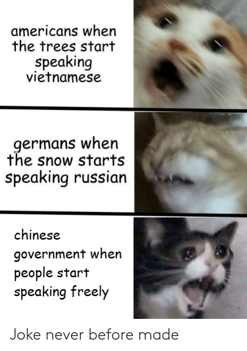 Vietnamese: americans when  the trees start  speaking  vietnamese  germans when  the snow starts  Speaking russian  chinese  government when  people start  speaking freely Joke never before made