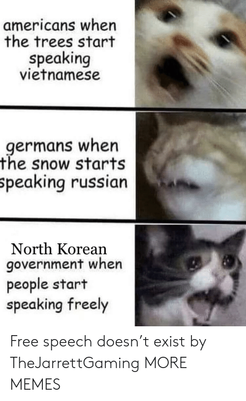 Vietnamese: americans when  the trees start  speaking  vietnamese  germans when  the snow starts  peaking russian  North Korean  government when  people start  speaking freely Free speech doesn't exist by TheJarrettGaming MORE MEMES