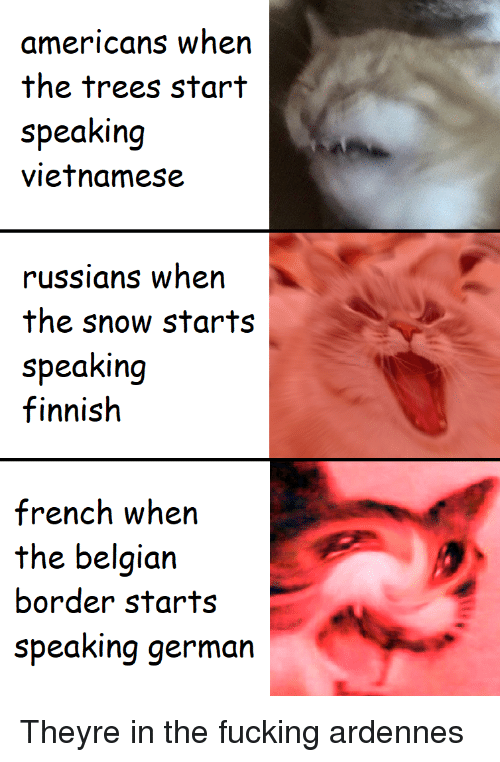 Fucking, Snow, and Trees: americans when  the trees start  speaking  vietnamese  russians when  the snow starts  speaking  finnish  french wh  the belgian  border starts  speaking germarn Theyre in the fucking ardennes