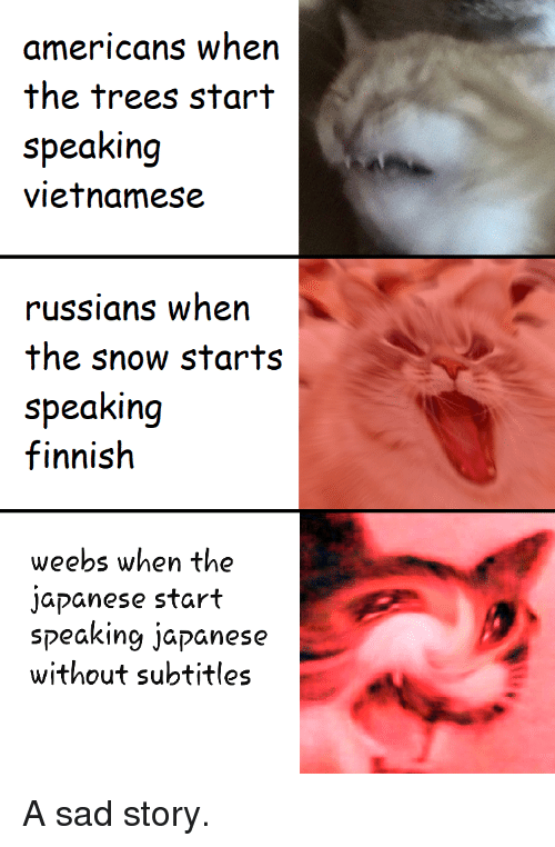 russians: americans when  the trees start  speaking  vietnamese  russians when  the snow starts  speaking  finnish  weebs when the  japanese start  speaking japanese  without subtitles A sad story.